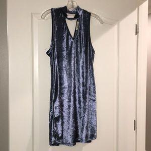 Peach love California blue velvet dress size L